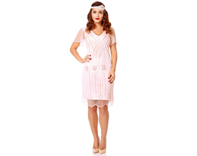 Art Deco Pink Blush Vintage 20s inspired Flapper Dress with Sleeves Great Gatsby Rehearsal dinner Downton Abbey Bridesmaid Wedding Bohemian