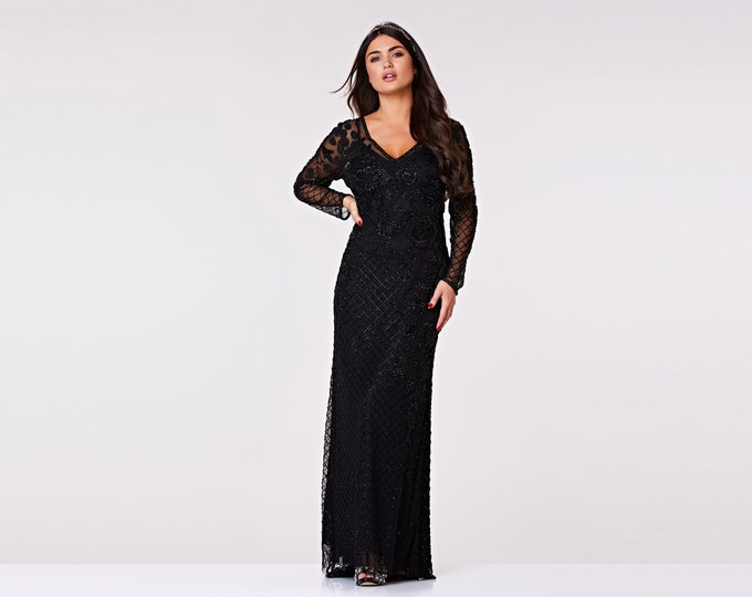 Polly Gown Black Prom Maxi Dress with Sleeves 20s Flapper Great Gatsby Formal Speakeasy Wedding Reception Bridesmaids prom