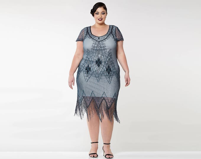 Plus Size Annette Blue Grey 20s Flapper Great Gatsby Downton Abbey Charleston Art Deco Bridesmaid Wedding Guest Bridal Shower Beaded Dress