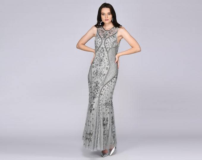 Caitlin Illusion Neckline Open Back Grey Blue Gown Prom Maxi Dress Great Gatsby Art Deco Downton Abbey Charleston Bridesmaid Bridal shower