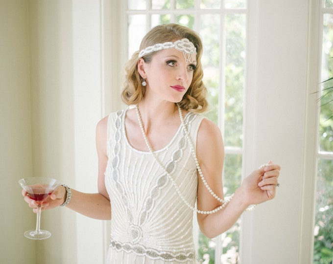 Long Faux Pearl Necklace Great Gatsby Vintage inspired 1920s vibe Robe Charleston Downton Abbey Mod Art Deco New Hand Made