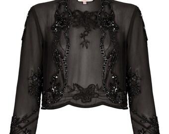 Mary Black Bolero Shrug cape Jacket Vintage 1920s inspired Flapper Great Gatsby Hand Embellished Charleston Art Deco Wedding