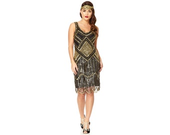 PETITE Length Edith Black Gold Vintage 20s inspired Great Gatsby Flapper  Beaded Charleston Bridesmaids Wedding Art Deco Speakeasy Dress New 706790d55d2c3