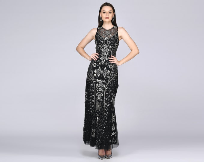 Caitlin Illusion Neckline Open Back Black Silver Gown Prom Maxi Dress Great Gatsby Art Deco Downton Abbey Charleston Bridesmaid shower
