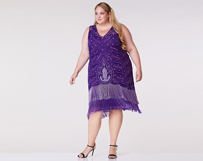 Plus size Hollywood Purple Flapper Fringe Dress Slip Included 20s inspired Great Gatsby Art Deco Charleston Bridesmaid Wedding Bridal Jazz