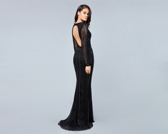 Black Tie Open Back Gayle Maxi Gown Prom Dress 1920s Great Gatsby Art Deco Downton Abbey Bridesmaid Wedding reception