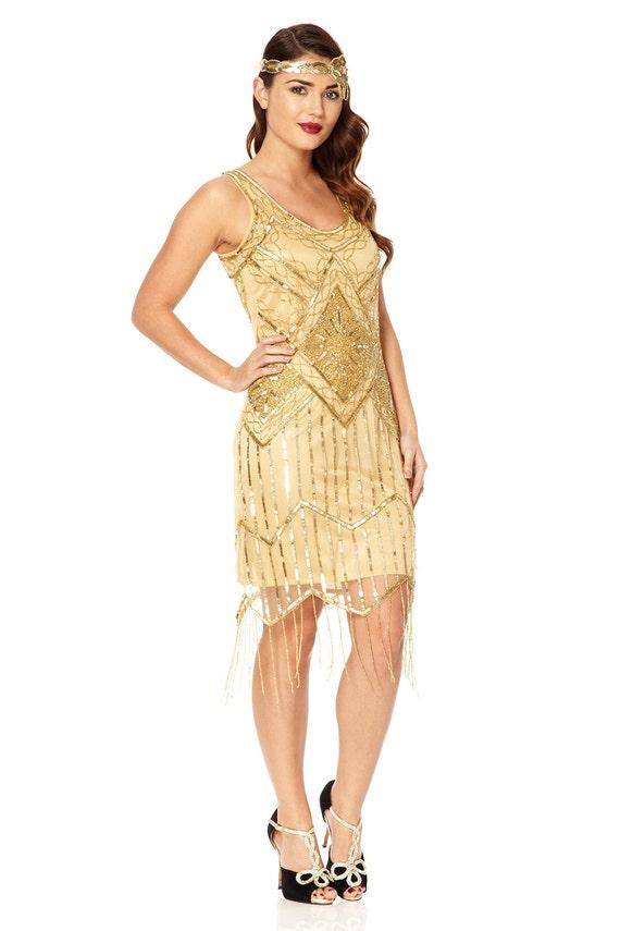 1920s Flapper Dressess Gatsby Downton Gown Art Deco Sequin Fringe Cocktail Dress
