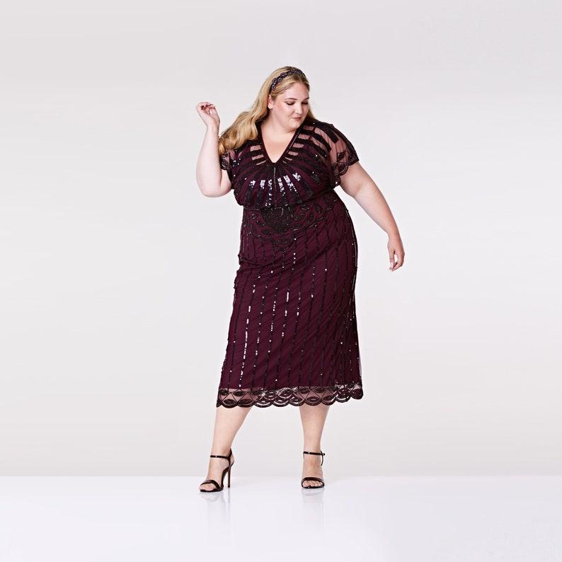 Plus Size Plum Angel Sleeve Prom Maxi Dress 20s Flapper Great | Etsy
