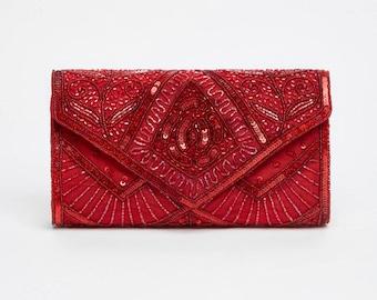 Vintage Inspired Red Scarlet Wedding clutch purse bag Hand Embellished 20s Great Gatsby Flapper Charleston Art Deco Jazz Cocktails