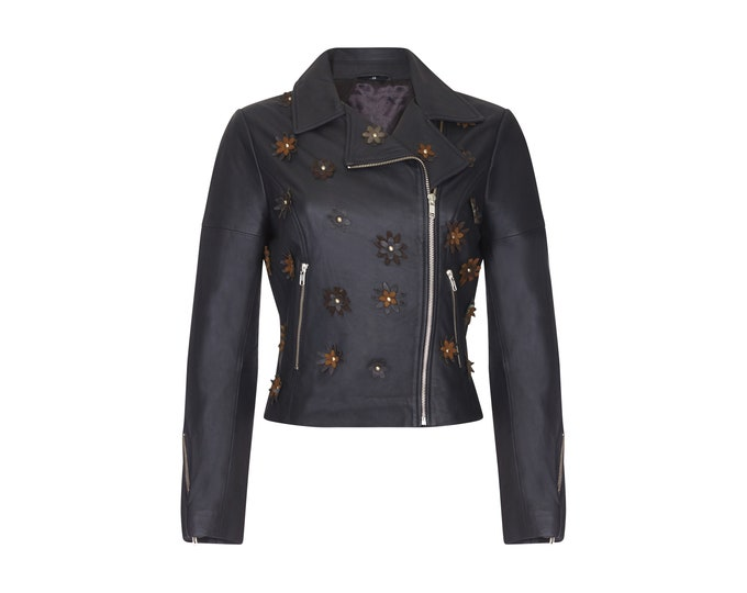 Winter Black Genuine Leather Floral Studded Biker Jacket made from Soft Lamb Skin