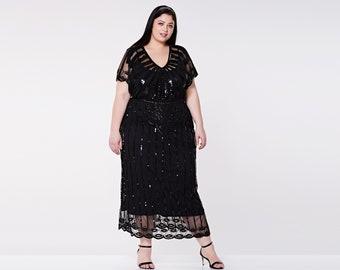 US24 UK28 AUS28 EU56 Black Angel Sleeve Plus Size Prom Maxi Dress 20s inspired Flapper Gatsby Charleston Downton Abbey Art Deco Bridesmaids