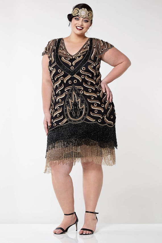 Plus Size Vegas Black Gold Flapper Dress Slip Included 20s Etsy