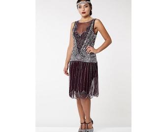 Canada Duty Free Shipping Plum Elaina Flapper Dress 20s Great Gatsby Downton Abbey Bridesmaid Wedding Bridal Rehearsal Dinner Jazz age