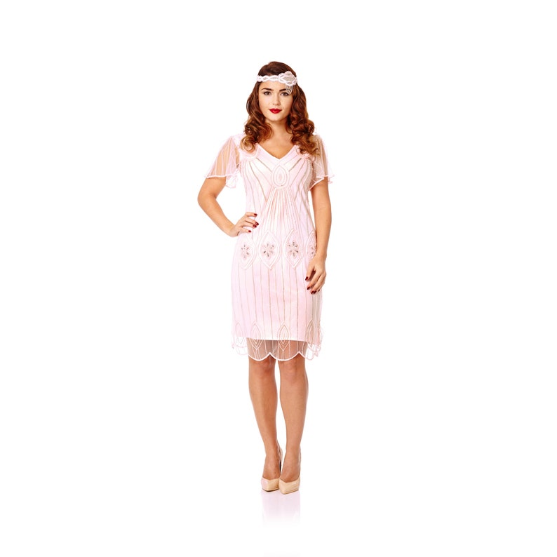 Plus Size Art Deco Pink Blush Vintage 20s inspired Flapper Dress with  Sleeves Great Gatsby Downton Abbey Bridesmaid Wedding Bohemian