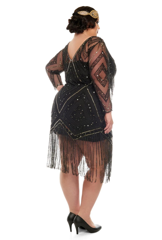 Plus size Betty Black Fringe Dress with Sleeves Slip ...