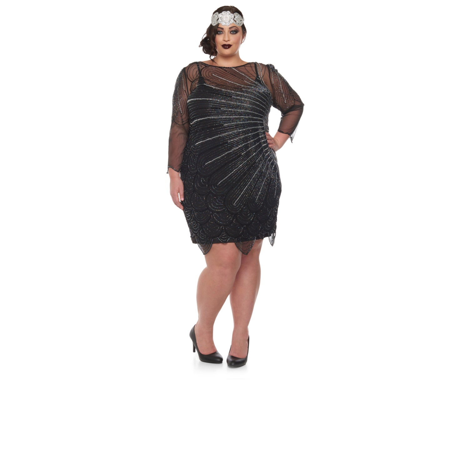 US16 UK20 AUS20 EU48 Plus Size Black Catherine silver Flapper ...