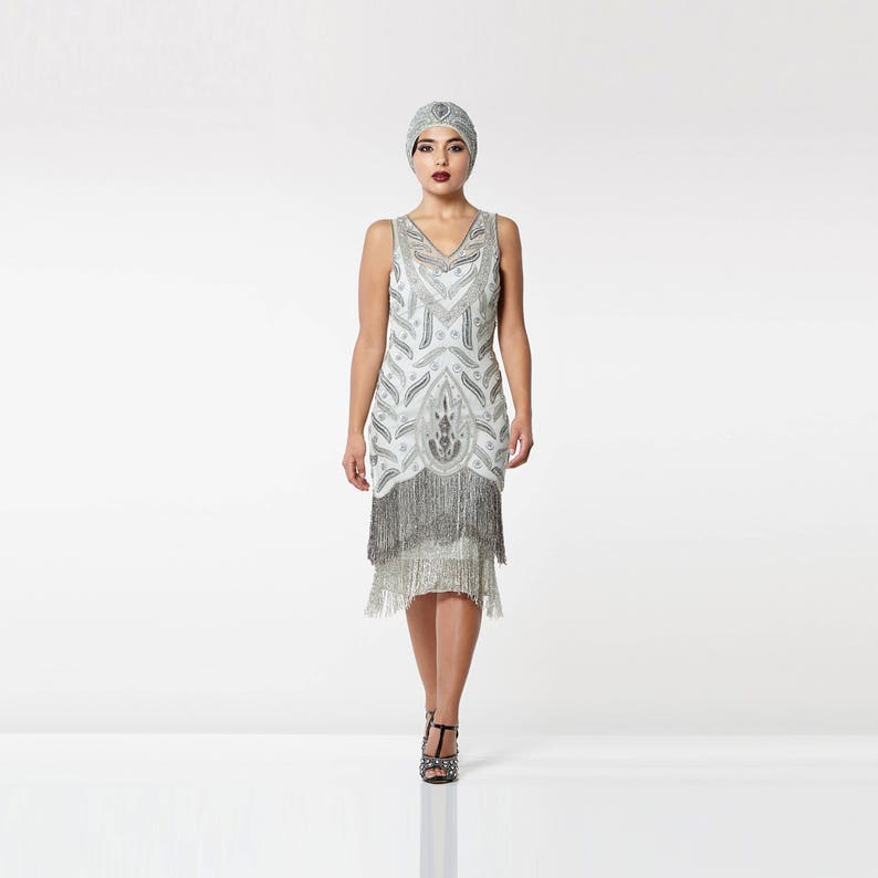 66968a62deb US14 UK18 AUS18 EU46 Hollywood Grey Silver Fringe dress Slip
