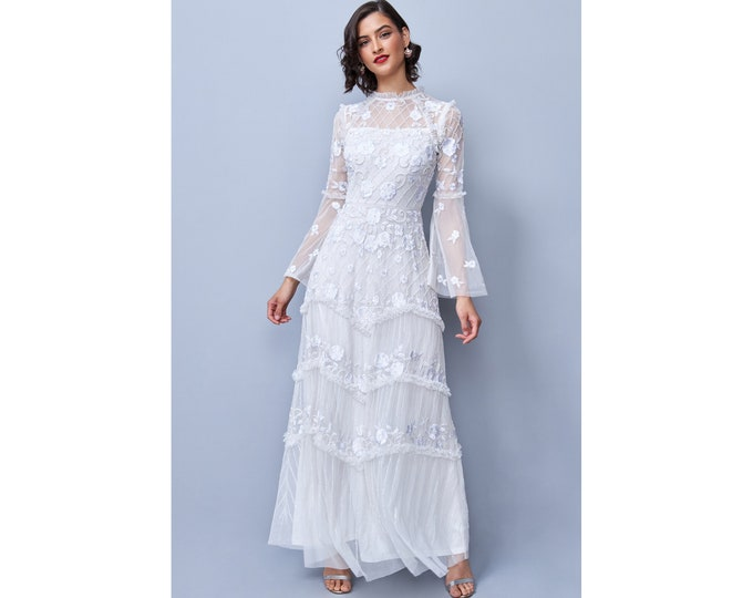 White Illusion Neckline Covent Garden Full Flare Sleeved Maxi Wedding Gown Prom Dress 1920s Great Gatsby Art Deco Downton Abbey Bridal