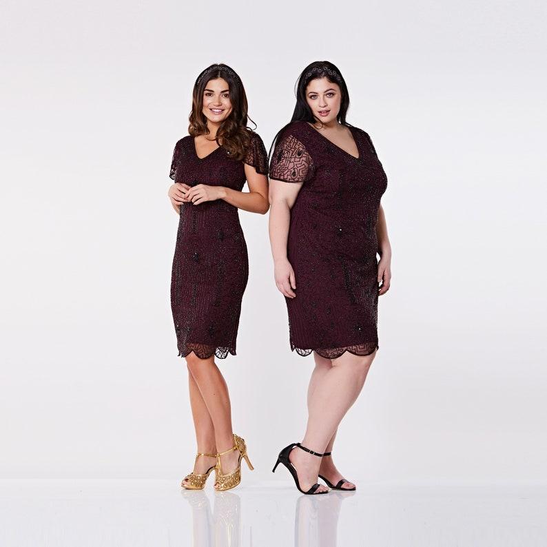 8831b594604 Plus size Downton Abbey plum burgundy Flapper dress with