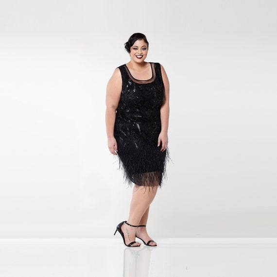 Plus Size Marilyn Feather Flapper Dress 20s Great Gatsby Etsy