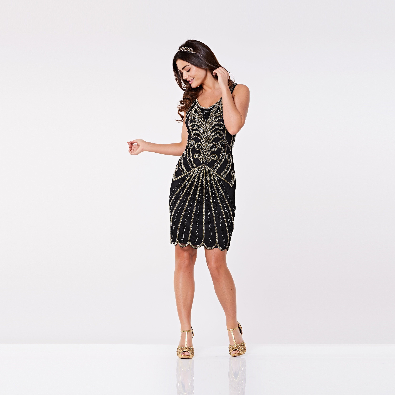 Canada Local Shipping Plus Size Black Francesca Flapper Dress 20s ...