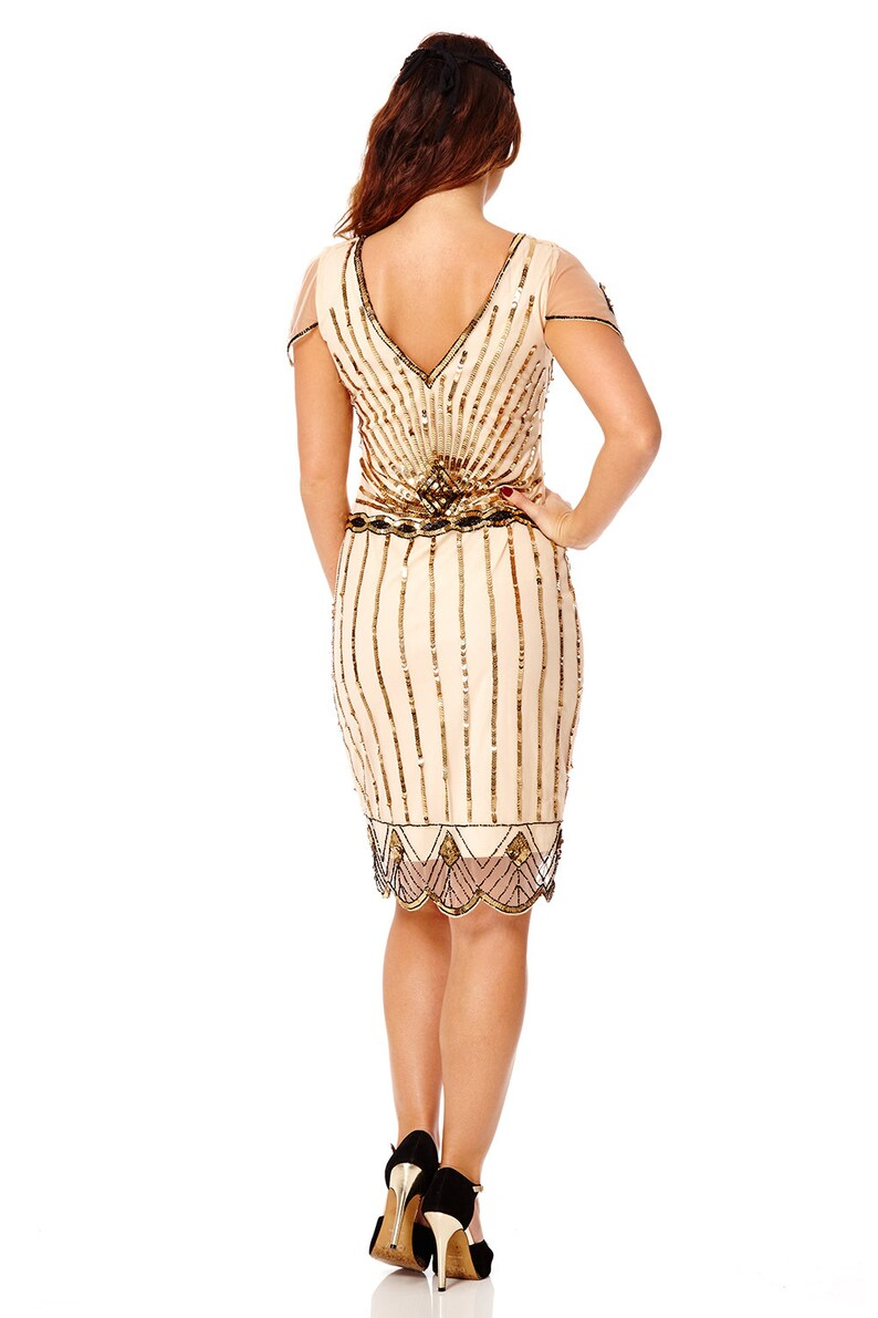 Eva Nude Blush Dress with sleeves Vintage 1920s inspired Flapper Great Gatsby Beaded Charleston Downton Abbey Art Deco Bridesmaid Wedding
