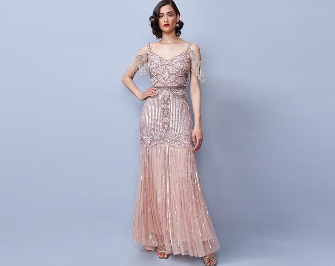 Chloe Blush Gown Open Back Maxi Prom Dress 1920s Great Gatsby Art Deco Downton Abbey Bridesmaid Wedding reception