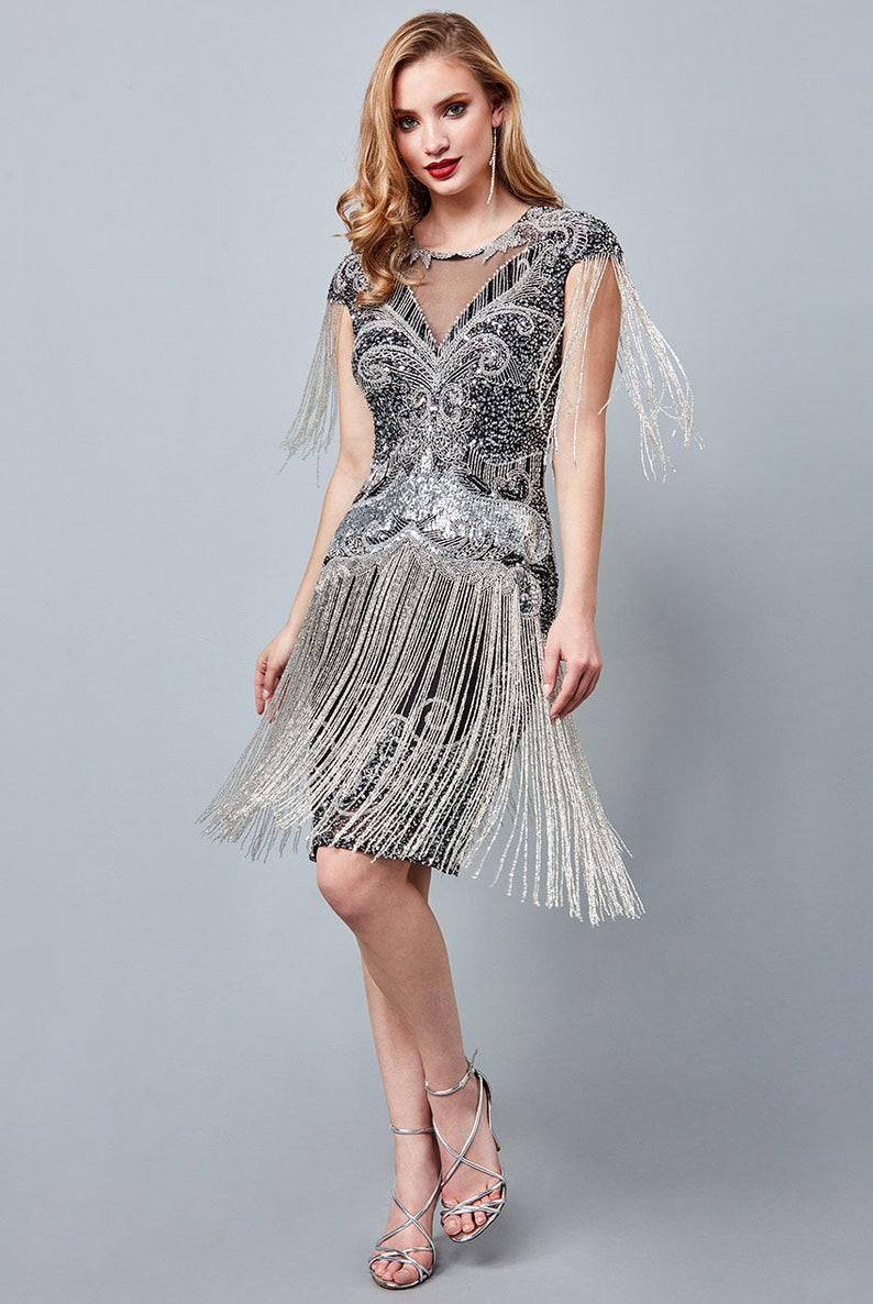 1920s Fashion & Clothing | Roaring 20s Attire Sybil Black silver Fringe Dress 1920s Vintage inspired Great Gatsby Art Deco Charleston Downton Abbey Bridesmaid Wedding $171.49 AT vintagedancer.com