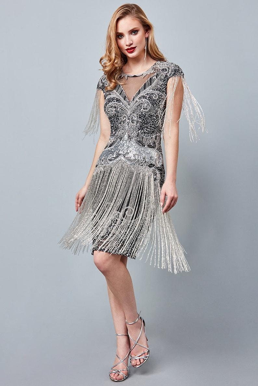 1920s Style Dresses, 20s Dresses     Sybil Black silver Fringe Dress 1920s Vintage inspired Great Gatsby Art Deco Charleston Downton Abbey Bridesmaid Wedding $170.51 AT vintagedancer.com