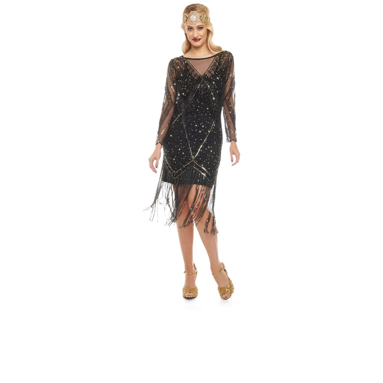 US8 UK12 AUS12 EU40 Betty Black Fringe Kleid mit Ärmeln Slip