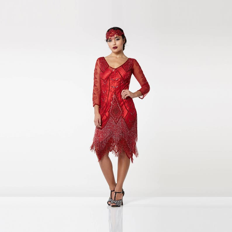 85591f9b6c0 Scarlet Red Flapper Dress with sleeves Slip Included 20s