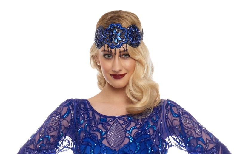 Great Gatsby Navy Royal Blue Julia Flapper Headband Vintage image 0