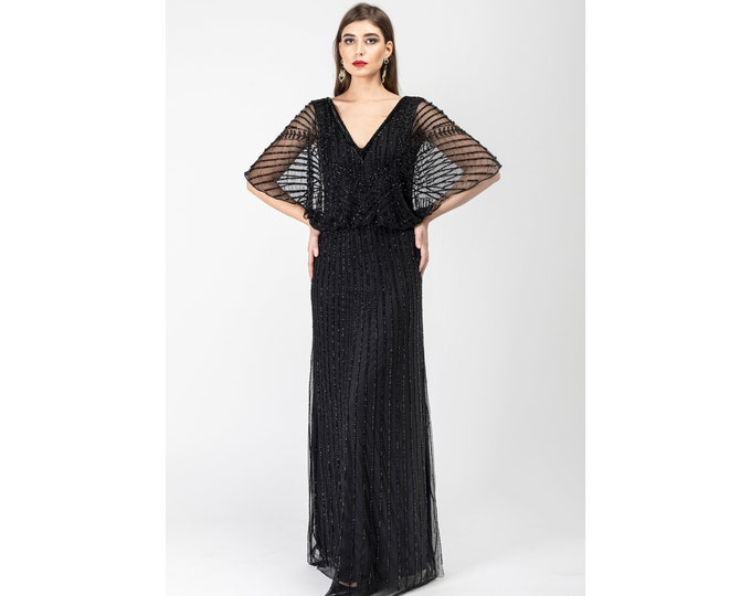 Black Sarah Angel Wings V-Neck Frills Flared Sleeves Long Maxi Wedding Gown Prom Dress 1920s Great Gatsby Art Deco Downton Abbey Bridal