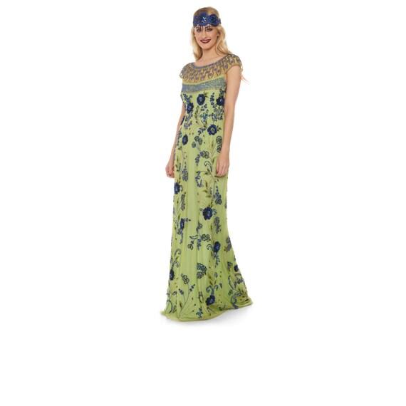 56e2bb4adfa Elizabeth Lime Royal Blue Long Gown Prom Maxi Formal Dress 20s