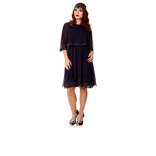 Plus size Gloria Navy Blue Capelet Dress Vintage inspired ...
