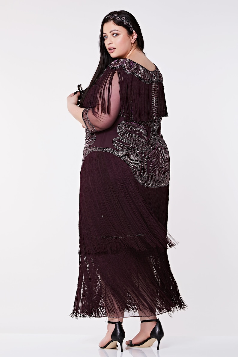 1920s Fashion & Clothing | Roaring 20s Attire Plus Size Glam Gown Plum Prom Maxi Dress with Sleeves 20s Flapper Great Gatsby Formal Speakeasy Wedding Reception Bridesmaids prom $220.89 AT vintagedancer.com