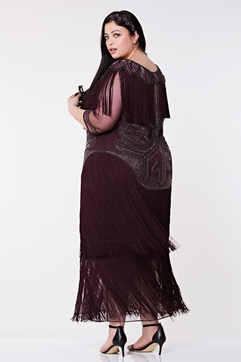 1920s Plus Size Flapper Dresses, Gatsby Dresses, Flapper Costumes Plus Size Glam Gown Plum Prom Maxi Dress with Sleeves 20s Flapper Great Gatsby Formal Speakeasy Wedding Reception Bridesmaids prom $220.89 AT vintagedancer.com