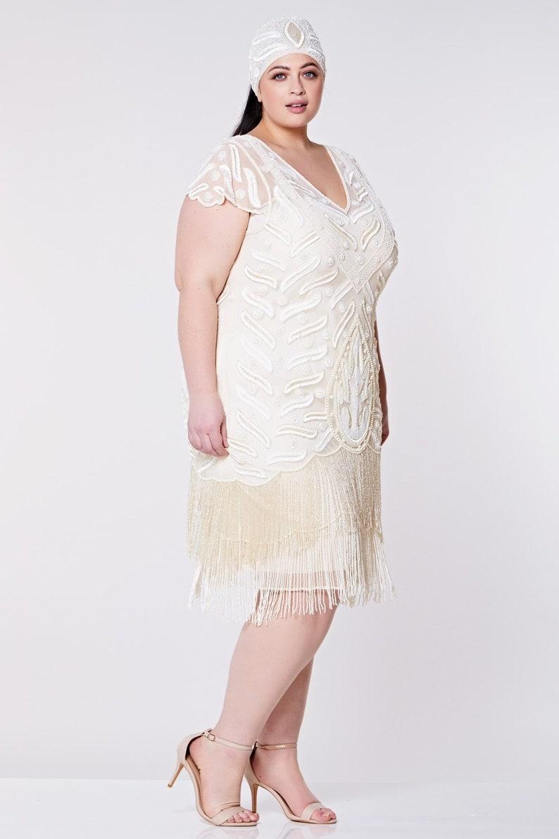 White Flapper Dresses, White 1920s Dresses US16 UK20 AUS20 EU48 Vegas Cream Flapper Dress 1920s Great Gatsby Downton Abbey Bridesmaid Wedding reception Bridal Shower Rehearsal Dinner  AT vintagedancer.com