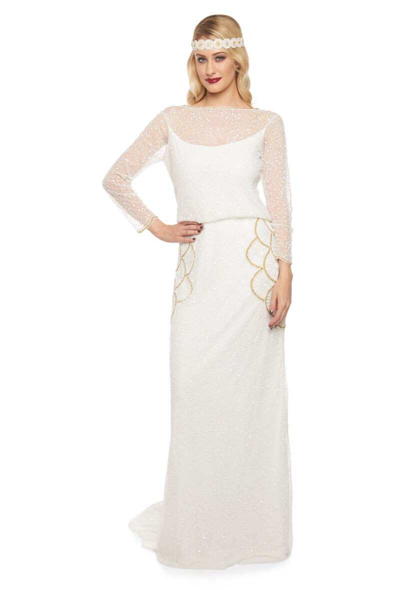 ba4e7aabed0 Plus Size White Gold Brooklyn Wedding Gown Prom Maxi Dress