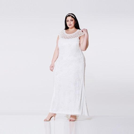 Plus Size Wedding Gown Off White Prom Maxi Elizabeth Dress 20s Great Gatsby  Charleston Downton Abbey Beach Wedding Reception Art deco