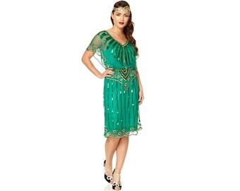 Angel Sleeve Emerald Green 20s Flapper Great Gatsby Charleston Downton Abbey Wedding Guest Bridesmaid Jazz age party Art Deco Dress Handmade
