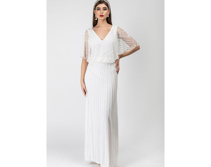 White Sarah Angel Wings V-Neck Frills Flared Sleeves Long Maxi Wedding Gown Prom Dress 1920s Great Gatsby Art Deco Downton Abbey Bridal