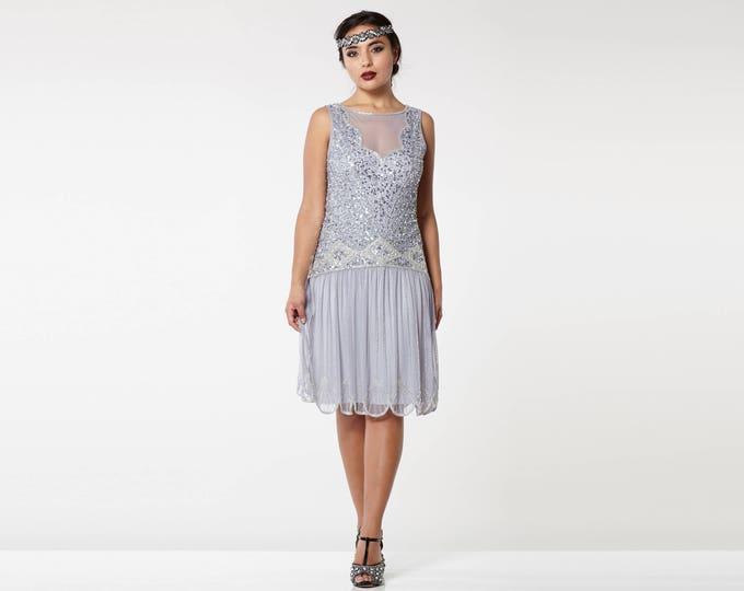 PETITE US4 UK8 AUS8 EU36 Lilac Elaina Drop waist Flapper Dress 20s Great Gatsby Downton Abbey Bridesmaid Wedding guest homecoming