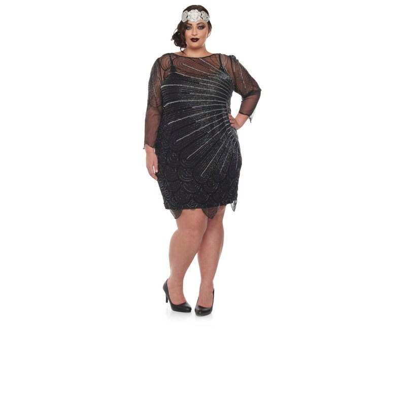 14bf5f8150de7 Plus Size Catherine Black silver Flapper Dress with sleeves
