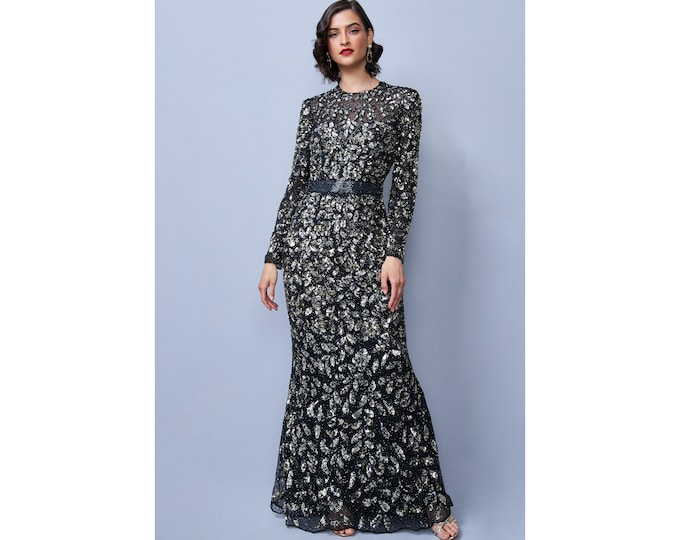 Black Gold Nicola Illusion Neckline Sequined Lace Maxi Long Sleeved Wedding Gown Prom Dress 1920s Great Gatsby Art Deco Downton Abbey Bridal