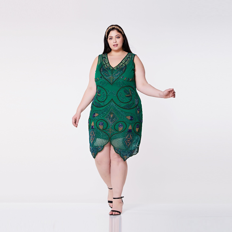 Plus Size Emma Grün Flapper Kleid mit Slip 20er Jahre