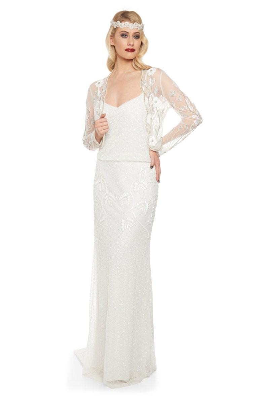 d8cabc52b8 Off White Vintage 20s inspired Tess Flapper Wedding Jacket