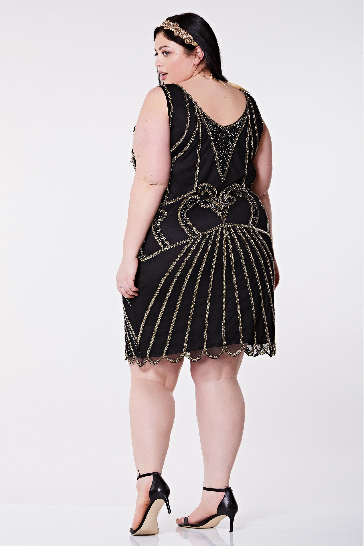 bd3747163b Plus Size Black Francesca Flapper Dress 20s Great Gatsby Charleston Downton  Abbey Art Deco Homecoming Wedding Guest Bridesmaid Handmade New