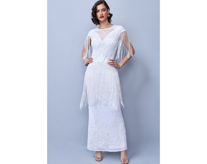 White Ethel V-Neck See-through Illusion Neckline Frills Long Maxi Wedding Gown Prom Dress 1920s Great Gatsby Art Deco Downton Abbey Bridal