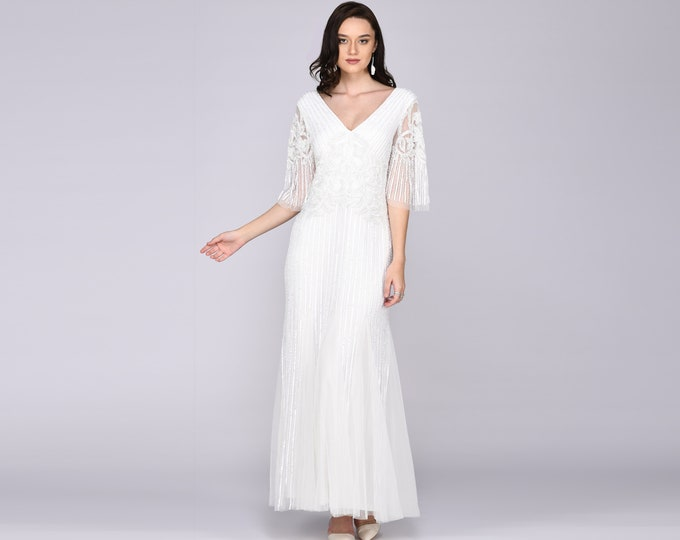 Norma 3/4 Sleeve Maxi Gown Prom Dress White 1920s Great Gatsby Art Deco Downton Abbey Charleston Bridesmaid Wedding reception Bridal shower